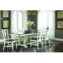 Grove Park Ext Table Top w/ Double Pedestal Base in Chestnut/Shell