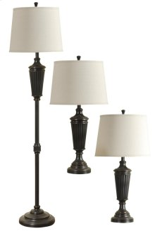 QB-Bronze Wood Finish Metal Floor Lamp and set of Two Table Lamps