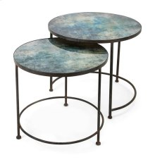 Paxton Metal and Printed Glass Tables - Set of 2