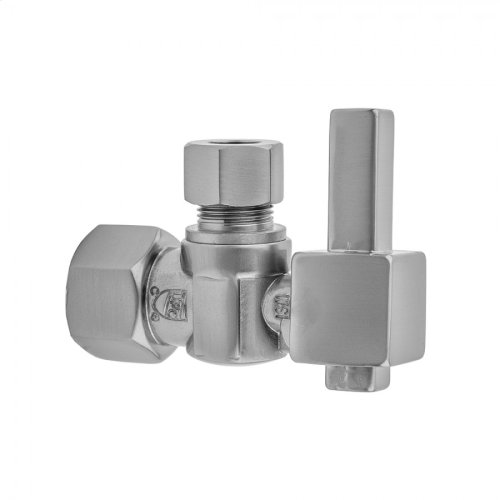 "Satin Chrome - Quarter Turn Angle Pattern 1/2"" IPS x 3/8"" O.D. Supply Valve with Square Lever Handle"