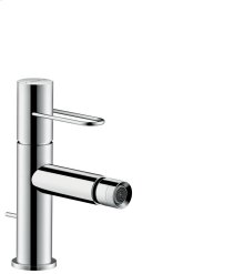 Chrome Single lever bidet mixer with loop handle and pop-up waste set