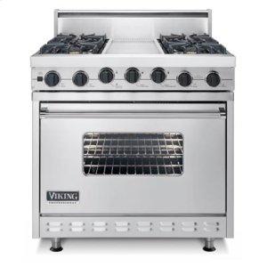 """Black 36"""" Sealed Burner Dual Fuel Range - VDSC (36"""" wide range with four burners, 12"""" wide griddle/simmer plate, single oven)"""