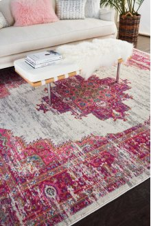 Passion Psn03 Ivory/fuchsia Rectangle Rug 8' X 10'