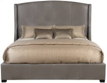 "Queen-Sized Cooper Leather Wing Bed (64"" H) in Espresso"