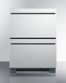 Two-drawer All-refrigerator for Built-in Use With Stainless Steel Drawer Fronts and Black Handles, Auto Defrost With Digital Thermostat and Alarm