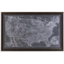 US Map Blueprint Wall Art