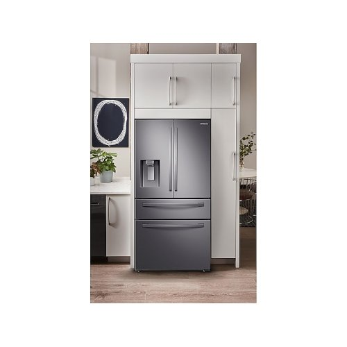 28 cu. ft. 4-Door French Door Refrigerator with Food Showcase in Black Stainless Steel