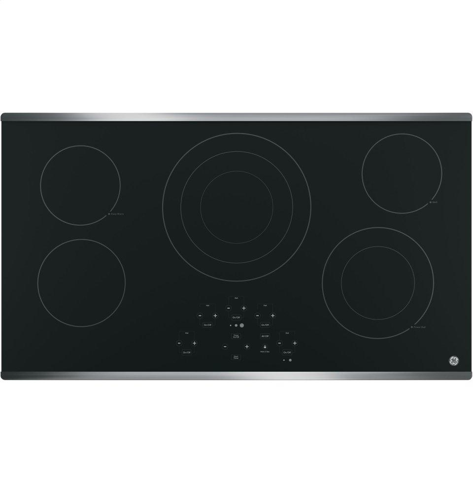 """GE(R) 36"""" Built-In Touch Control Electric Cooktop  STAINLESS STEEL ON BLACK"""