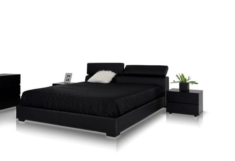 Vg2tau0139 In By Vig Furniture In Modrest Logan Black Leatherette - Logan-leather-bed-with-adjustable-headboard