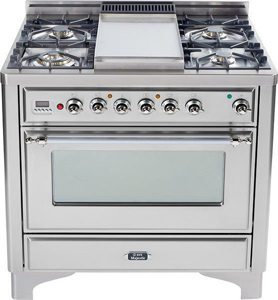 Stainless Steel with Chrome trim - Majestic 36-inch Range with 6-Burner  STAINLESS STEEL / CHROME