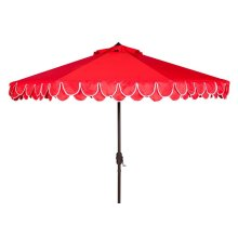Elegant Valance 9ft Auto Tilt Umbrella - Red / White