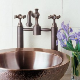 Small Beveled Vessel Antique Light Copper