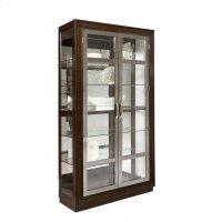 Modern Nickel 5 Shelf Curio Cabinet in Prima Brown Product Image