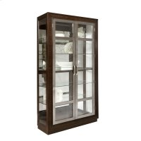 Modern Nickel 5 Shelf Curio Cabinet in Prima Brown Product Image