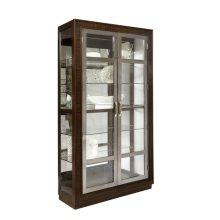 Modern Nickel 5 Shelf Curio Cabinet in Prima Brown