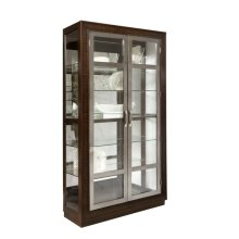 Modern Nickel 5 Shelf Curio Cabinet in Prima Brown