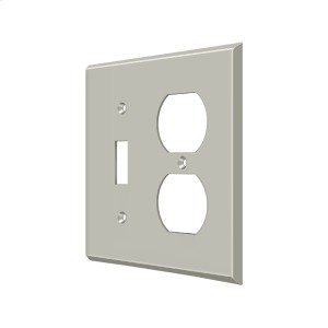 Switch Plate, Single Switch/Double Outlet - Brushed Nickel