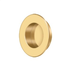 "Flush Pull, Round, HD, 1-7/8"", Solid Brass - PVD Polished Brass Product Image"