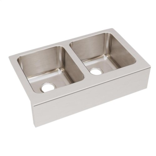 """Elkay Lustertone Classic Stainless Steel 33"""" x 20-1/2"""" x 10"""", Equal Double Bowl Farmhouse Sink"""