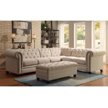 Roy Traditional Oatmeal Armless Chair