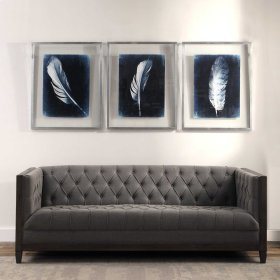 Inverted Feathers Framed Prints, S/3