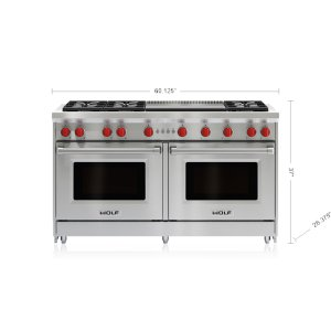 "Wolf60"" Gas Range - 6 Burners and Infrared Dual Griddle"