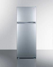 "Frost-free refrigerator-freezer in slim 24"" footprint and platinum finish"