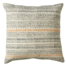 Grey Blue Block Print Pillow (Each One Will Vary).