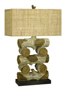 150W 3 way Faux wood/Log resin table lamp