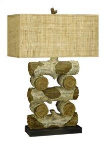 150W 3 way Faux wood/Log resin table lamp