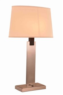 1 Light Table Lamp with Metal Wood Body & Brushed Nickel & Black Finish