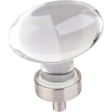"1-5/8"" Overall Length Glass Football Cabinet Knob."