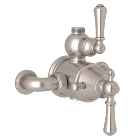 Satin Nickel Perrin & Rowe Georgian Era Exposed Therm Valve With Volume And Temperature Control with Georgian Era Solid Metal Lever