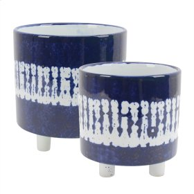 """S/2 Ceramic Footed Planters 8.5""""/6, White/blue"""