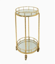 2-tier Gold Metal Bar Cart, Mirrrored Top