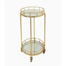 2-tier Gold Metal Bar Cart, Mirrrored Top