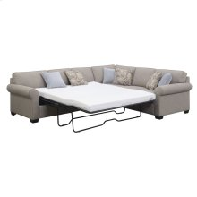 Lsf Queen Sleeper-rsf Corner Sofa W/6 Accent Pillows- Linen