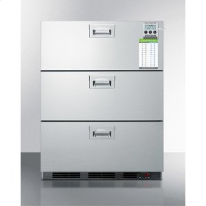 SummitADA Compliant Built-in Commercial 3-drawer All-refrigerator In Stainless Steel, W/digital Thermostat, Temperature Alarm and Hospital Grade Cord