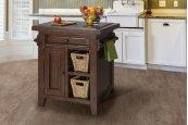 Tuscan Retreat® Small Kitchen Island With 2 Baskets - Rustic Mahogany
