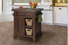 Tuscan Retreat® Small Kitchen Island With 2 Baskets - Rustic Mahogany