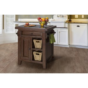 Hillsdale FurnitureTuscan Retreat(r) Small Kitchen Island With 2 Baskets - Rustic Mahogany