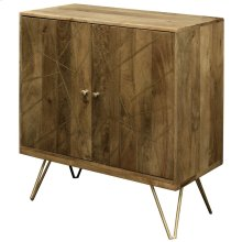 Sebastian  32in X 16in X 34in  Two Door Cabinet Made of Solid Mango Wood in a Honey Brown Finish