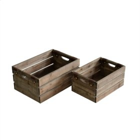 S/2 Wood Boxes, Brown