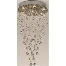Crystal Ceiling Lamp, Chrome/crystals, Type Gu10 50wx7
