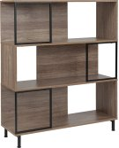 "Paterson Collection 3 Shelf 39.5""W x 45""H Bookcase and Storage Cube in Rustic Wood Grain Finish Product Image"