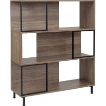 """Paterson Collection 3 Shelf 39.5""""W x 45""""H Bookcase and Storage Cube in Rustic Wood Grain Finish"""