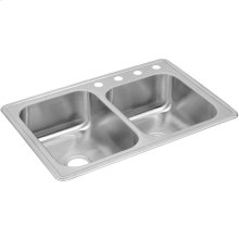 """Dayton Stainless Steel 33"""" x 22"""" x 8-3/16"""", Offset Double Bowl Drop-in Sink"""