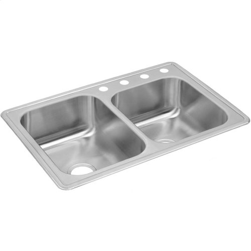 "Dayton Stainless Steel 33"" x 22"" x 8-3/16"", Offset Double Bowl Drop-in Sink"