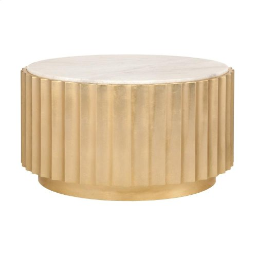 Gold Leaf Scalloped Round Coffee Table With White Marble Top