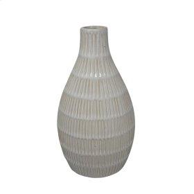 "Ceramic 11.5"" Tribal Look Vase, Ivory"